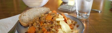 Italian sausage paprikash over egg noodles