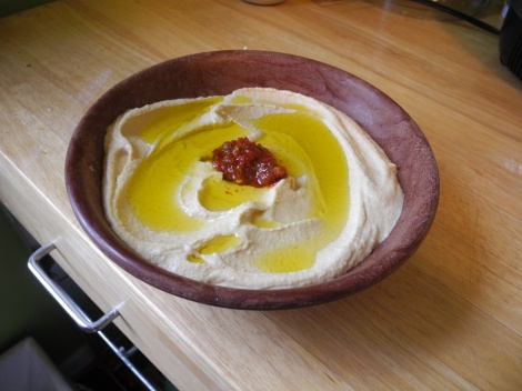 Compromise hummus, plated