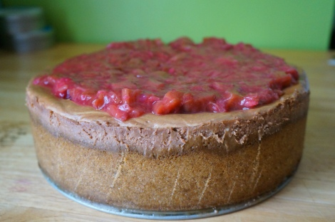 Chocolate cheesecake with gingered rhubarb topping