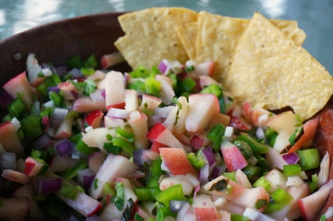 Nectarine and Hatch chile salsa, with tortilla chips