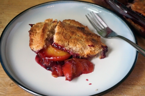 Peach-blueberry cobbler with a spiced biscuit crust, one perfect portion spooned onto a white, blue-bordered plate. The blueberry-stained peaches peek out from under a golden crust, and a few drops of deep magenta juice spot the plate.